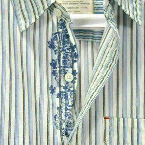 LEVI'S Two Horses Brand Mens M Striped Blue Shirt